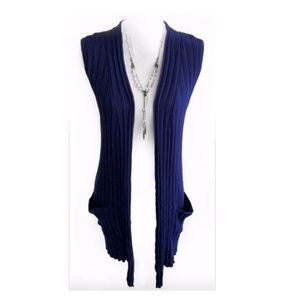Design History Long Open Front Ribbed Sweater Vest